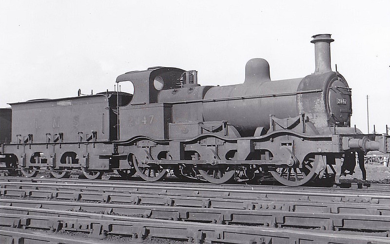 MR - 2847 - Johnson MR Class 2F 0-6-0 - built 1873 by Dubs & Co. as MR No.1045 - 1907 to MR No.2847 -  1933 withdrawn - seen here at Derby, 10/33.
