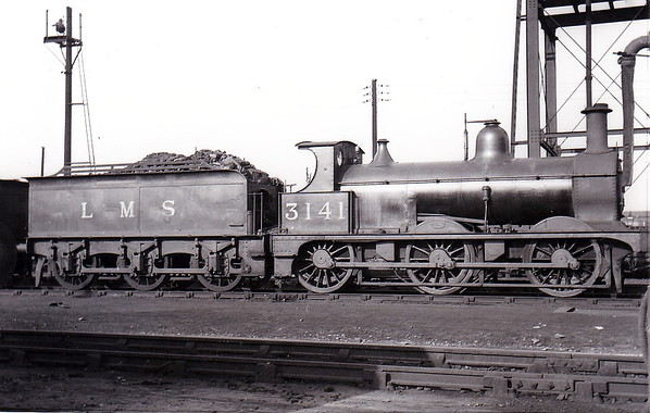 MR - 3141 - Johnson Class 1698 2F 0-6-0 - built 1885 by Derby Works as MR No.1709 - 1907 to MR No.3141 - 1923 to LMS - 1946 withdrawn - seen here at Derby in March 1932.