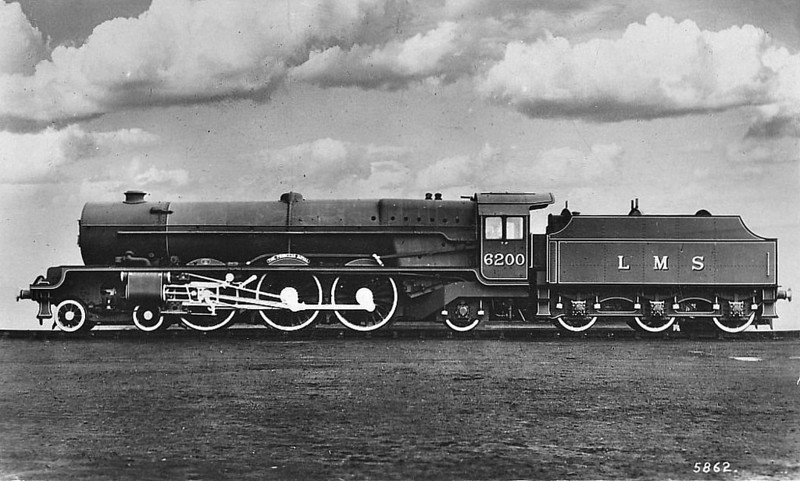 LMS - 6200 THE PRINCESS ROYAL - Stanier LMS 'Princess Royal' Class 7P 4-6-2 - built 06/33 by Crewe Works - 08/48 to BR No.46200 - 11/62 withdrawn from 12A Carlisle Kingmoor - seen here as built with small Fowler tender.