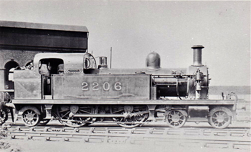 LTSR - 2206 - Whitelegg LTSR Class 1 4-4-2T - built 1880 by Sharp Stewart & Co. as LTSR No.7 BARKING - 1912 to MR No.2116, 1923 to LMS No.2206, 1930 to LMS No.2083 - 09/35 withdrawn.