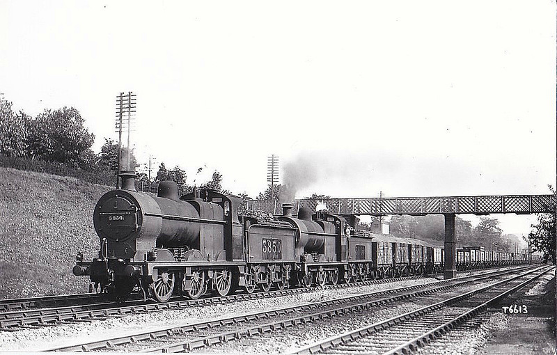 LMS - 3850 - Fowler MR/LMS Class 4F 0-6-0 - built 11/17 by Derby Works - 06/48 to BR No.43850 - 01/65 withdrawn from 18B Westhouses - seen here piloting sister No.3866.