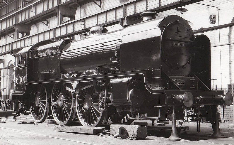 LMS - 6000 - Bowen-Cooke LNWR 'Claughton' Class 5XP 4-6-0 - built 07/20 by Crewe Works - 02/33 withdrawn - technically rebuilt as Patriot Class 4-6-0 No.5538 which was completed in July 1933 still carrying this number - seen here in the Erecting Shop at Crewe Works.