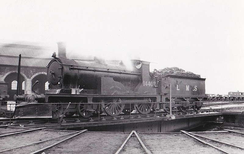 HR - 14402 BEN ARMIN - Drummond HR 'Small Ben' Class 2P 4-4-0 - built 02/1899 by Dubs & Co. as HR No.6 - 1923 to LMS No.14402 - 12/39 withdrawn - seen here 03/37 - in use as stationary carriage warmer, Law Junction, 1943.