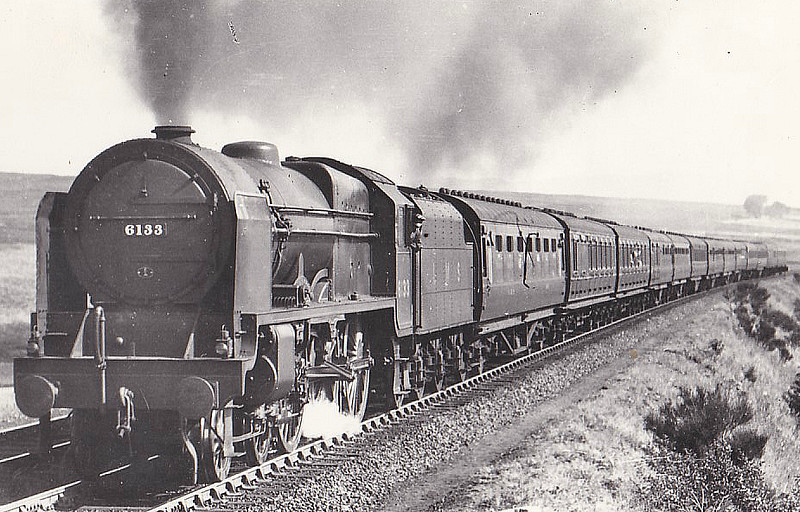 LMS - 6133 THE GREEN HOWARDS - Fowler LMS Royal Scot 4-6-0 - built 10/27 by North British Loco Co. - 01/49 to BR No.46133 - 02/63 withdrawn from 26A Newton Heath - seen here on Shap Incline in 1937.