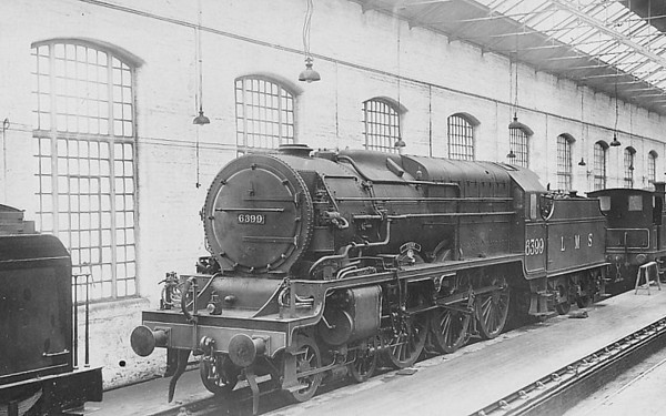 LMS - 6399 FURY - Fowler/Superheater Co. LMS Experimental High Pressure 4-6-0 - built 10/29 by North British Loco Co. as LMS No6399 - highly unsuccessful on test - 1935 rebuilt by Stanier as Royal Scot No.6170 ROYAL BRITISH LEGION - 04/48 to BR No.46170 - 12/62 withdrawn from 6G Llandudno Junction - seen here in Derby Works Paint Shop.