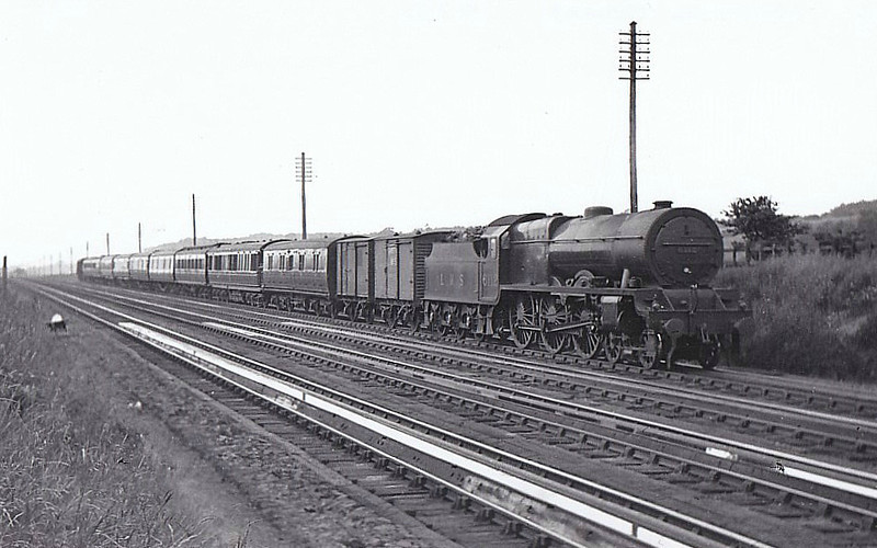 LMS - 6112 SHERWOOD FORESTER - Fowler LMS Royal Scot 4-6-0 - built 10/27 by North British Loco Co. - 09/48 to BR No.46112 - 05/64 withdrawn from 16D Annesley - seen here at Whitmore Troughs, 07/30.