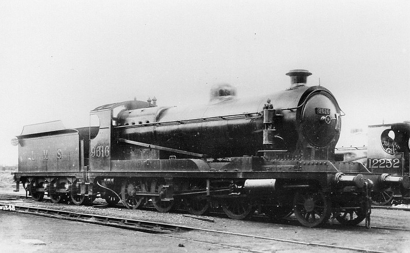 LMS - 9616 - Robinson GCR Class 8K LNWR Class MM ROD 2-8-0 - built 1919 by North British Loco Co., Works No.1787, as ROD No.2820 - subsequently No.2400 - 1919 to LNWR as No.1747, 1923 to LMS as No.9616, 1931 to LMS No.9455 - 1932 withdrawn.<br /> Ex-ROD engines (LMS 9616-65) acquired by the LNWR and LMS before and after the grouping. Of the LNWR acquisitions (9616-45), many did not enter service until too late to receive their allotted LNWR series numbers. The LMS did not seem very enthusiastic about these engines, in spite of their relative newness, and scrapping commenced in 1928. In 1931, 28 of the residual 31 survivors were renumbered 9455-82 to avoid clashing with the numbers of the new Fowler 0-8-0s. All had gone by 1932 and it is interesting to contrast the fate of these engines on the LMS with their considerable success on the LNER and GWR systems. To be fair to them, however, they were faced with extensive LMS route restrictions, being prohibited from virtually the whole of the ex-LYR and ex-MR lines.