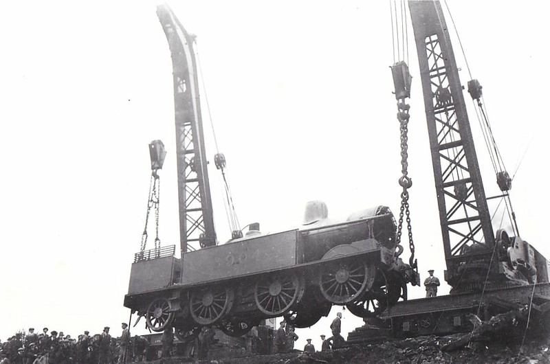 LNWR - 6904 - Webb LNWR Class 2P 0-6-2T - built 11/00 by Crewe Works - 08/47 withdrawn from Warrington Dallam MPD - seen here being rerailed after an accident at East Buxton.