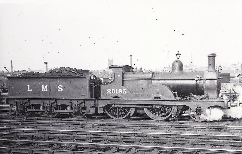MR - 20183 - Johnson MR Class 1282 2-4-0 - built 1884 by Dubs & Co. as MR No.1308 - 1907 to MR No.183, 1932 to LMS No.20183 - 11/39 withdrawn - seen here at Northampton.