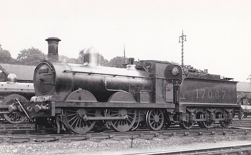 GSWR - 17067 - James Strling GSWR Class 221 0-4-2 - built 1867 by Neilson & Co. as GSWR No.261 - 1902 rebuilt and to GSWR No.360, 1919 to GSWR No.265, 1923 to LMS No.17067 - 1931 withdrawn - note tender with weatherboard.
