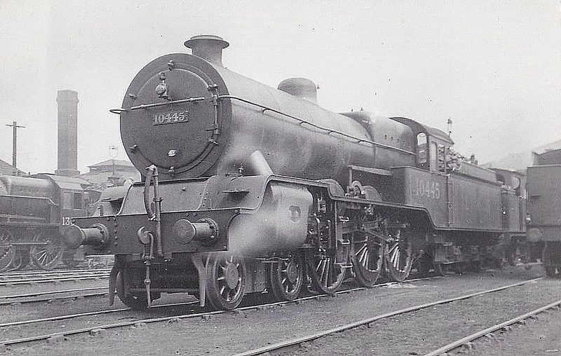 LYR - 10445 - Hughes LYR /LMS 'Dreadnought' Class 5P 4-6-0 - built 06/23 by Horwich Works as LYR No.1674 - 1923 to LMS No.10445 - 02/36 withdrawn - seen here at Newton Heath MPD, 06/33.