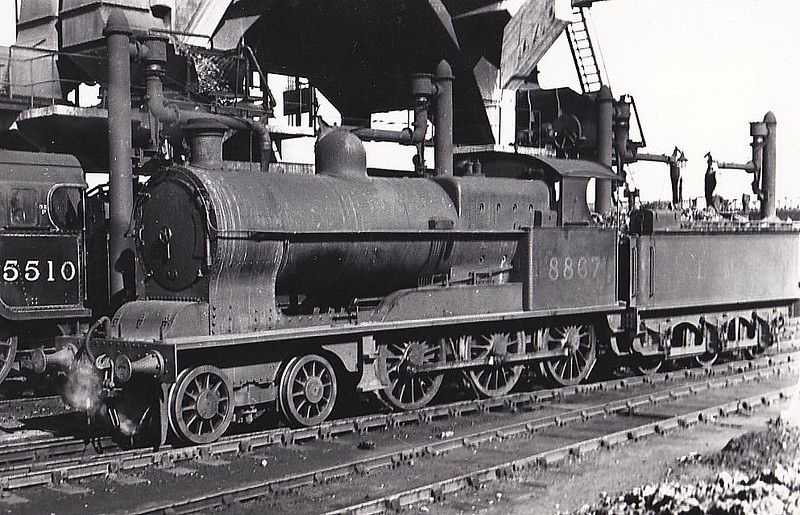 "LNWR - 8867 - Whale LNWR '19"" Goods' 4F 4-6-0 - built 10/09 by Crewe Works as LNWR No.1630 - 1923 to LMS No.8867 - 04/36 withdrawn."