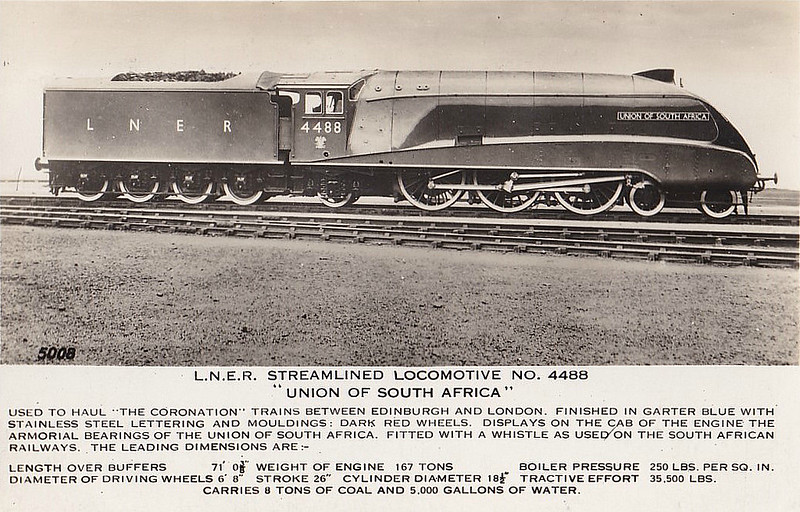 Class A4 - 4488 UNION OF SOUTH AFRICA - Gresley LNER 4-6-2 - built 06/37 by Doncaster Works - 01/47 to LNER No.9, 05/48 to BR No.60009 - 06/66 withdrawn from 61B Aberdeen Ferryhill.