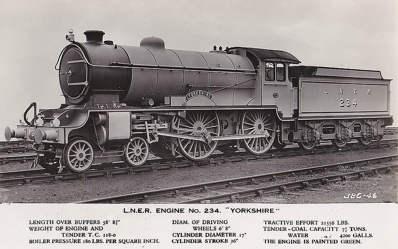 Class D49 -  234 YORKSHIRE - Gresley LNER 4-4-0 - built 10/27 by Darlington Works - 04/46 to LNER No.2700, 04/49 to BR No.62700 - 10/58 withdrawn from 53B Hull Botanic Gardens.