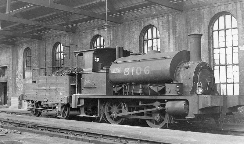 Class Y9 - 8106 - Drummond NBR Class G 0-4-0ST - built 11/1890 by Cowlairs Works as NBR No.11 - 1923 to LNER No.9011, 1946 to LNER No.8106, 1948 to BR No.68106 - 08/57 withdrawn from 65E Kipps - seen here with wooden tender.