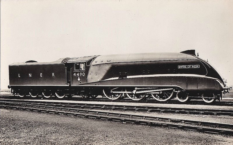 Class A4 - 4490 EMPIRE OF INDIA - Gresley LNER 4-6-2 - built 06/37 by Doncaster Works - 11/46 to LNER No.11, 03/49 to BR No.60011 - 05/64 withdrawn from 61B Aberdeen Ferryhill.