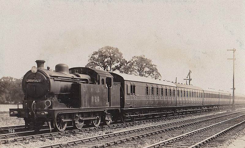 Class N 7 - 826 - Hill GER/LNER Class L77 0-6-2T - built 01/26 by Gorton Works - 102/46 to LNER No.9632, 12/50 to BR No.69632 - 09/62 withdrawn from 30A Stratford - seen here near Romford, 1928.