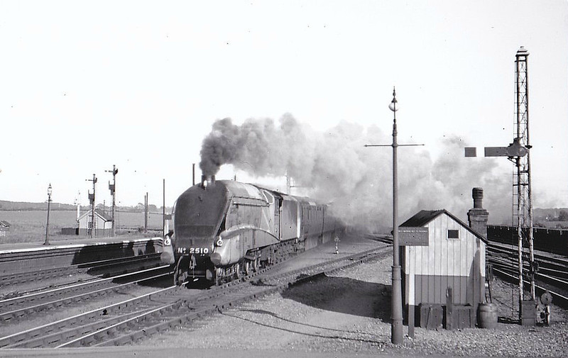Class A4 - 2510 QUICKSILVER - Gresley LNER 4-6-2 - built 09/35 by Doncaster Works - 09/46 to LNER No.15, 12/48 to BR No.60015 - 04/63 withdrawn from 34A Kings Cross - seen here on a Down Express at Essendine.