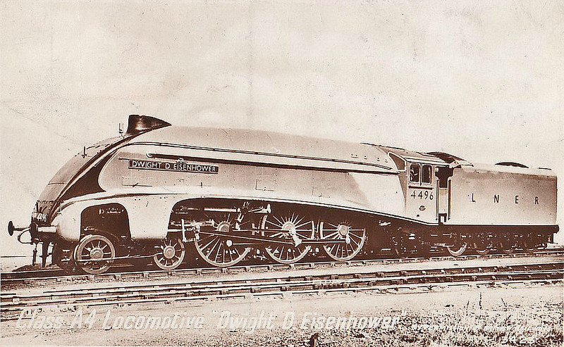 Class A4 - 4496 DWIGHT D EISENHOWER - Gresley LNER 4-6-2 - built 09/37 by Doncaster Works - 07/45 original name GOLDEN SHUTTLE removed, renamed DWIGHT D EISENHOWER - 11/46 to LNER No.8, 10/48 to BR No.60008 - 07/63 withdrawn from 34E New England - posted April 1st, 1954.
