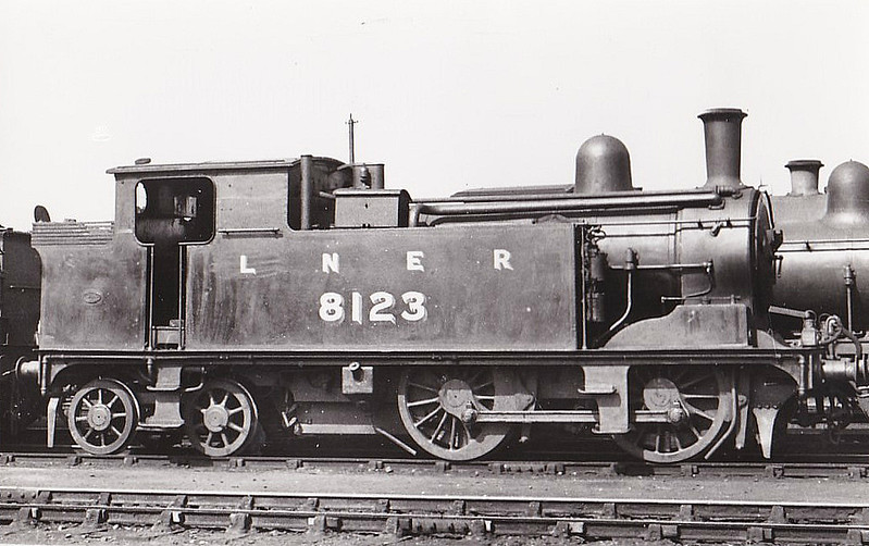 Class G4 - 8123 - Holden GER Class S44 0-4-4T - built 05/00 by Stratford Works as GER No.1123 - 1924 to LNER No.8123 - 08/38 withdrawn from March MPD - seen here at Cambridge in 1935.