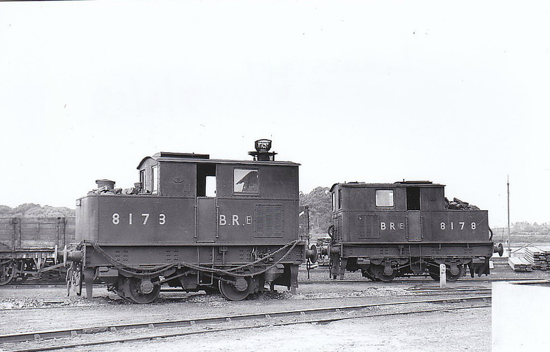 Class Y3 - 8173 & 8178 - Sentinel LNER Class Y3 0-4-0VBT - built 1930 by Sentinel Waggon Works as LNER Nos.63 & 98 respectively - 1946 to LNER Nos.8173 & 8178 - BR Nos. not applied - 8173 to BR Departmental No.40,, Lowestoft Engineer's Depot, withdrawn 04/64 - 8178 withdrawn as BR Departmental No.42, Chesterton Engineer's Depot, from 31A Cambridge in 07/60 - seen here at Lowestoft in 06/52.