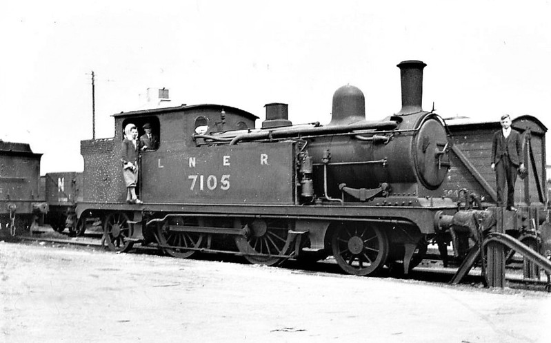Class F4 - 7105 - Holden GER 2-4-2T - built 11/05 by Stratford Works as GER No.105 - 1924 to LNER No.7105 - 03/35 withdrawn - seen here at Cambridge, 06/32.