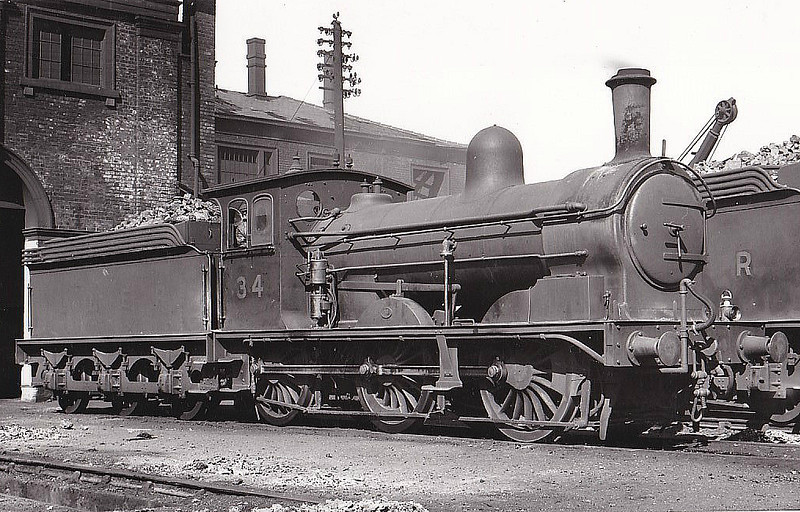 Class J21 - 34 - Worsdell NER Class C 0-6-0 - built 07/1891 by Darlington Works - 05/37 withdrawn - seen here at Darlington in 1935.