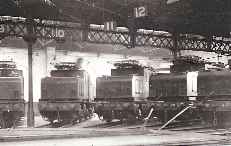 Class EF1 - built 1914 by Darlington Works as NER No.'s 3 to 12 - 1946 to LNER No.'s.6490 to 6499, 1948 to BR No.'s 26502 to 26511 - 08/50 all withdrawn except for 26510, converted to banking engine and sent to Ilford MPD as Departmental No.100 - 04/64 withdrawn - see here are Nos. 4,11 & 12 plus two on left unidentified at Shildon MPD, 08/32.