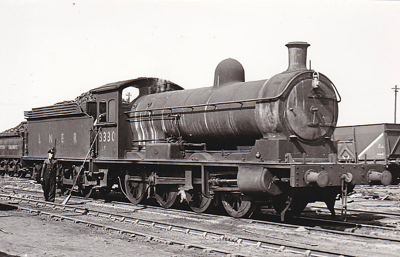 Class Q5 - 3330 - Worsdell NER Class T 0-8-0 - built 09/11 by Darlington Works - 08/46 to LNER No.3330 - BR No.63330 not applied - 12/49 withdrawn from 51A Darlington, where seen 06/48.