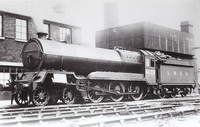Class B 7 - 5033 - Robinson GCR/LNER Class 9Q 4-6-0 - built 08/22 by Beyer Peacock & Co. as GCR No.33 - 09/25 to LNER No.5033, 12/46 to LNER No.1385 - BR No.61385 not applied - 01/49 withdrawn from 39A Gorton.