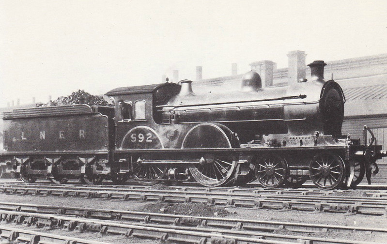 Class D20 - 592 - Worsdell NER Class R 4-4-0 - built 09/06 by Gateshead Works - 1946 to LNER No.2371, 10/48 to BR No.62371 - 10/54 withdrawn from 52D Tweedmouth.
