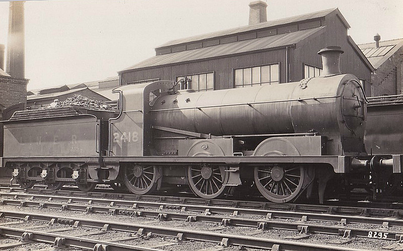 Class J28 - 2418 - Stirling HBR Class LS 0-6-0 - built 02/15 by Kitson & Co. as HBR No.26 - 1922 to NER No.3026, 1923 to LNER No.2418 - 06/37 with from Langwith Junction MPD.
