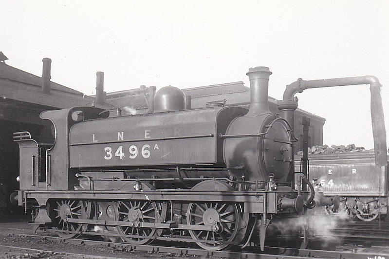 Class J55 - Stirling GNR 494 Series Class J15 0-6-0ST - built 08/1874 by Doncaster Works as GNR No.496 - 09/16 rebuilt from Class J54 with domed boiler - 02/24 to Duplicate List as 3496A - 06/27 withdrawn.
