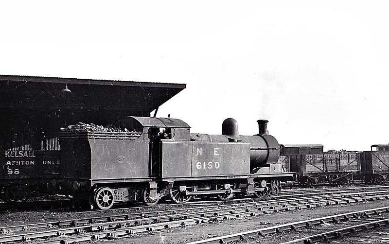 Class M1 - 6150 - Markham LDECR Class D 0-6-4T - built 06/04 by Kitson & Co. as LDECR No.31 - 01/08 to GCR No.1150, 08/24 to LNER No.6150 - LNER No.9081 not applied - 08/46 withdrawn from Tuxford MPD, where seen 05/46.
