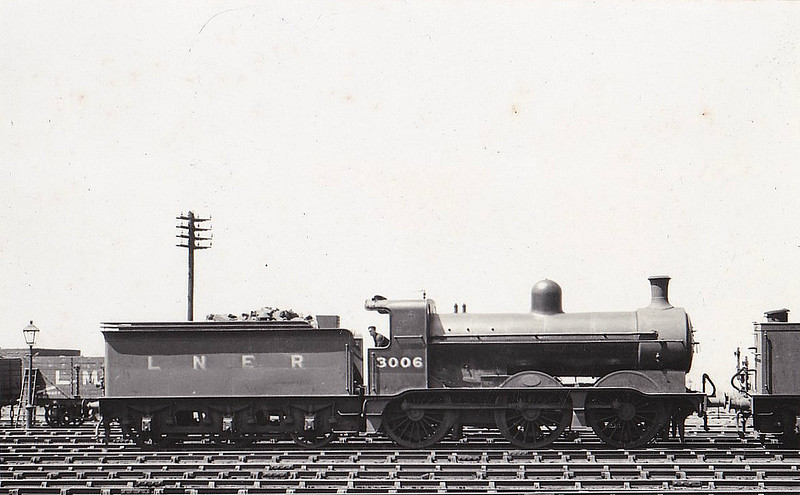Class J1 - 3006 - Ivatt GNR 0-6-0 - built 09/08 by Doncaster Works as GNR No.6 - 1923 to LNER No.3006, -1/47 to LNER No.5005, 02/49 to BR No.65005 - 05/52 withdrawn from 35A New England - seen here at Holbeck in June 1937.