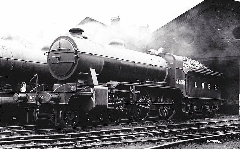 Class K2 - 4638 - Gresley GNR/LNER Class K1 2-6-0 - built 04/13 by Doncaster Works as GNR No.1638 - 08/24 to LNER No.4638 - 02/36 rebuilt as Class K2 - 01/46 to LNER No.1728, 09/50 to BR No.61728 - 12/60 withdrawn from 41A Sheffield Darnall - seen here at Mexborough, 07/38..