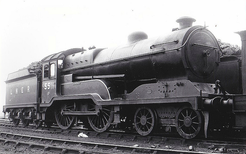 Class D11 - 5511 MARNE - Robinson GCR Class 11F LNER Class D11 Improved Director 4-4-0 - built 12/22 by Gorton Works as GCR No.511 - 02/25 to LNER No.5511, 10/46 to LNER No.2670, 04/49 to BR No.62670 - 11/60 withdrawn from 41A Sheffield Darnall - seen here at Gorton, 07/37.