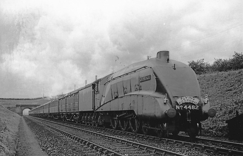 Class A4 - 4482 GOLDEN EAGLE - Gresley LNER 4-6-2 - built 12/36 by Doncaster Works - 11/46 to LNER No.23, 03/48 to BR No.60023 - 10/64 withdrawn from 61B Aberdeen Ferryhill.