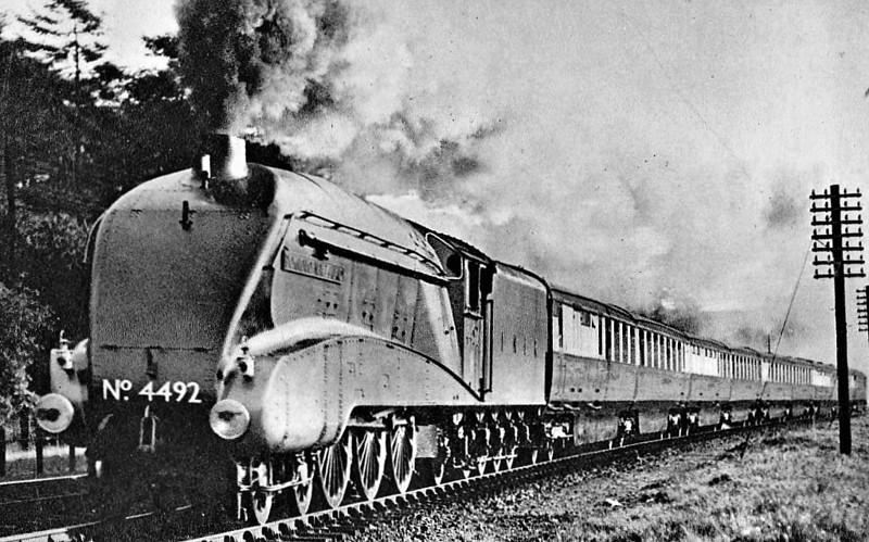 Class A4 - 4492 DOMINION OF NEW ZEALAND -  Gresley LNER 4-6-2 - built 06/37 by Doncaster Works - 08/46 to LNER No.13, 05/49 to BR No.60013 - 04/63 withdrawn from 34A Kings Cross - seen here on 'The Coronation'.