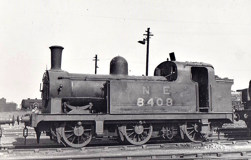 Class J77 - 8408 - Fletcher NER Class 947 0-4-4BT - built 11/1875 by RW Hawthorn & Co. as NER No.1438 - 06/04 rebuilt as 0-6-0T, LNER Class J77 - 06/46 to LNER No.8408, 09/49 to BR No.68408 - 02/61 withdrawn from 52F North Blyth - seen here at Darlington, 06/49.