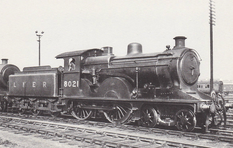 Class D13 - 8021 - Holden GER Class T19 2-4-0 - built 1895 by Stratford Works as GER No.1021 - 03/06 rebuilt as Class D13 4-4-0 - 1923 to LNER No.8021 - 11./35 withdrawn from Cambridge MPD, where seen.