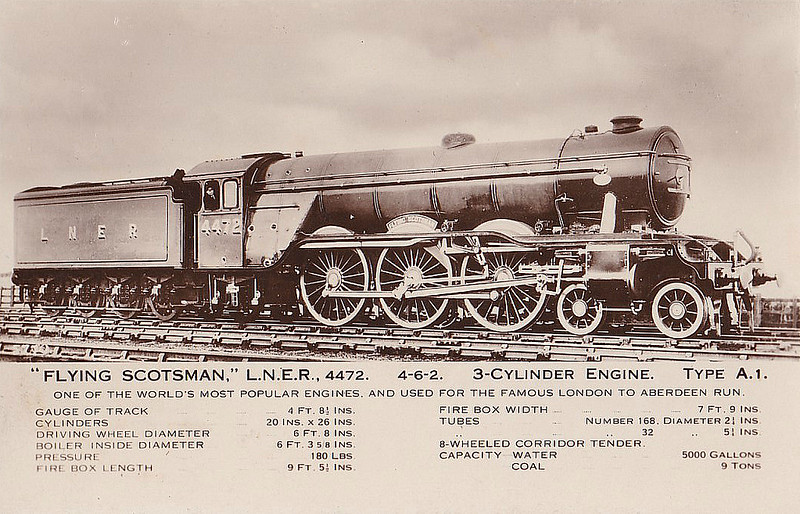 Class A3 - 4472 FLYING SCOTSMAN - Gresley 4-6-2 - built 02/23 by Doncaster Works as GNR No.1472 - 03/24 to LNER No.4472. 05/46 to LNER No.103, 12/48 to BR No.60103 - 01/63 withdrawn from 34A Kings Cross - preserved at NRM.