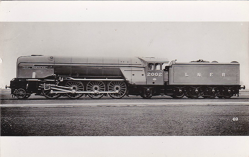 Class P2 - 2002 EARL MARISCHAL - Gresley LNER 2-8-2 - built 10/34 by Doncaster Works - 06/44 rebuilt by Thompson as Class A2/2 4-6-2 - 05/46 to LNER No.502, 06/48 to BR No.60502 - 07/61 withdrawn from 50A York.
