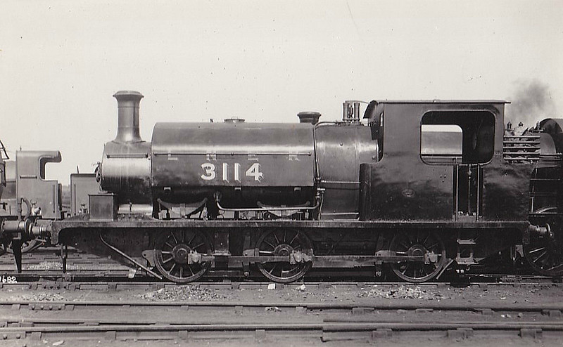 Class J85 - 3114 - East & West Yorkshire Union Railway 0-6-2ST - built 09/1898 by Manning Wardle & Co. as E&WYUR No.4 - 08/19 rebuilt by Manning Wardle as 0-6-0ST - 10/25 to LNER No.3114 - 1933 withdrawn from Ardsley MPD.