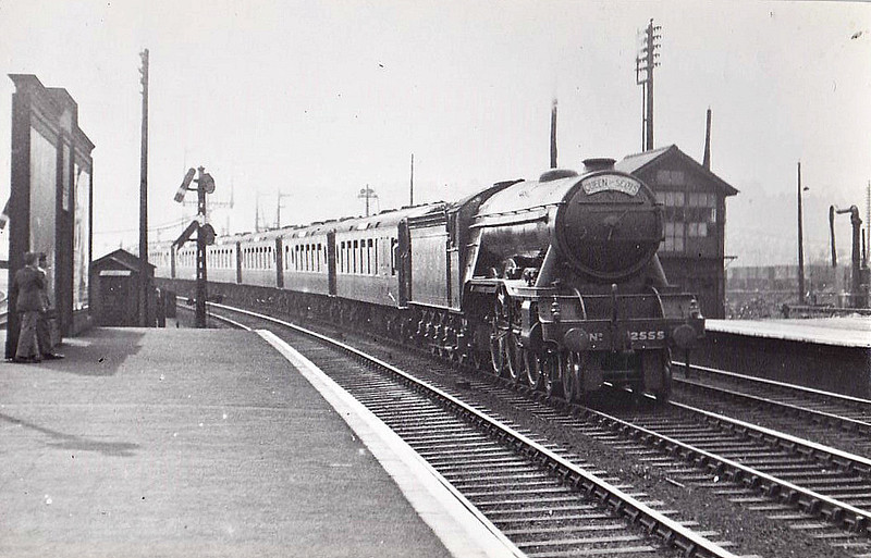 Class A3 - 2555 CENTENARY - Gresley 4-6-2 - built 02/25 by Doncaster Works - 07/46 to LNER No.56, 05/49 to BR No.60056 - 05/63 withdrawn from 35B Grantham - seen here at Hornsey on the Down 'Queen of Scots', 1937.
