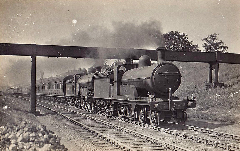 Class D 3 - 4342 - Ivatt GNR Class D3 4-4-0 - built 11/1898 by Doncaster Works as GNR No.1342 - 09/25 to LNER No.4342 - 11/36 withdrawn from Copley Hill MPD - seen here piloting a Class C1 Atlantic.