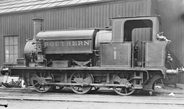 W1 - 0-6-0ST - built 1902 by Manning Wardle & Co., Works No.1555, for Pauling & Elliott Ltd. as NORTHOLT - 06/13 to Freshwater, Yarmouth & Newport Railway as No.1 MEDINA - 1923 to SR as No.W1 - 1932 withdrawn - seen here at Newport in April 1926.