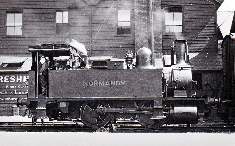 Class B4 - 96 NORMANDY - Adams LSWR 0-4-0T - built 11/1893 by Nine Elms Works - 12/50 to BR No. 30096 - 10/63 withdrawn from 71A Eastleigh - seen here at Southampton Docks in August 1929.
