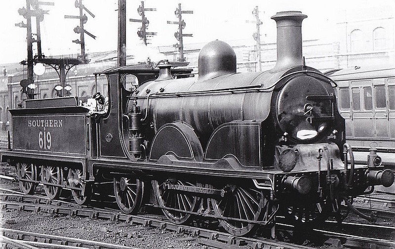 Class B - 619 - Stroudley LBSCR Class B 0-4-2 - built 11/1885 by Brighton Works as LBSCR No.219 CLEVELAND - 09/11 name removed - 12/20 to LBSCR No.619 - 12/28 withdrawn - seen here at Brighton.