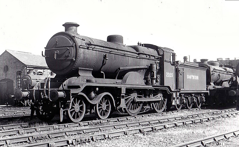 Class B4X - 2055 - Billinton LBSCR Class B4 4-4-0 - built 07/01 by Sharp Stewart & Co. as LBSCR No.55 EMPEROR - 08/22 rebuilt to Class B4X - 1931 to SR No.2055, BR No.32055 not applied - 12/51 withdrawn from 75G Eastbourne, where seen 06/50.